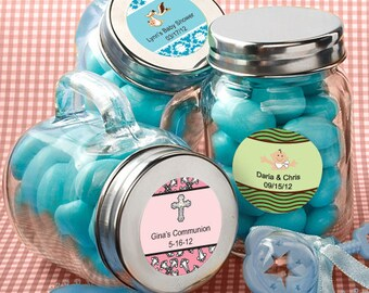 24 Personalized Baby Shower Glass Mason Jars - Set of 24