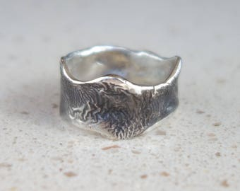 Man sterling silver ring. Unique ring. Designer ring, silver ring, ring man, silver ring hammered, blackened silver ring.