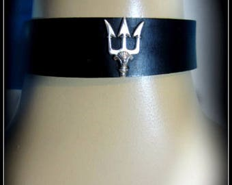 Trident Leather Choker, Percy Jackson, Blue Leather, Black Leather