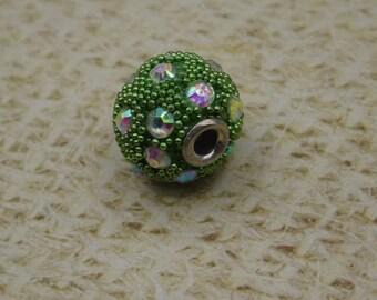 2 beads handcrafted Cashemir green rhinestone 13mm