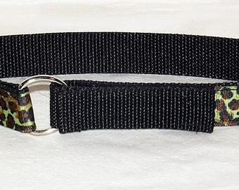 Green leopard toddler belt on black nylon webbing