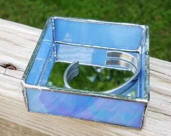 Periwinkle Blue Square Mirrored Stained Glass Jewelry or Keepsake Box