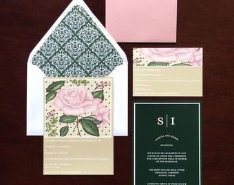 Romantic Floral Elegant Wedding Invitation Set