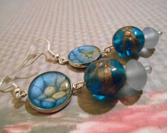 Earrings silver pierced Caribbean blue and gold
