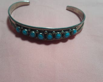 Native silver and turquoise cuff bracelet