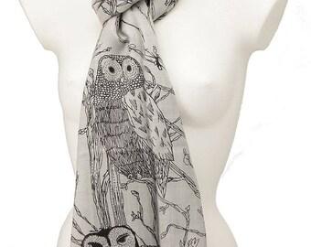 Owl print fair trade scarf in silver