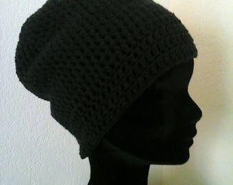 Matte black crochet yarn Hat