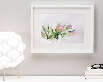 Tulip Bucket Original Watercolor Painting