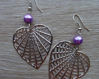 Earrings purple heart with Pearl