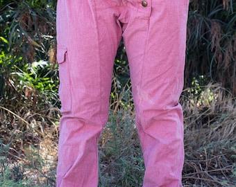 Drop-crotch cotton pants, Drop-crotch men's pants, Drop-crotch women's pants, unisex pants, pink style, handmade pants, casual pants
