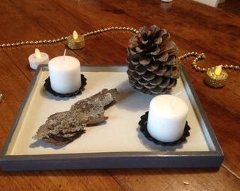 Christmas centerpiece - candle holder - nature inspired decoration
