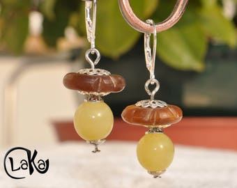 """Lemon"" Jade and amber Horn earrings"