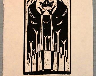 Sun King Wood Block Print