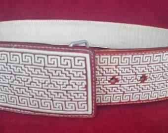 Artisan Hand Stitched Belts - Cinto Pitiado Pita Fina - Greca