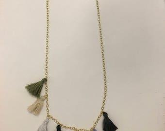 Earth Tone Tassel Necklace