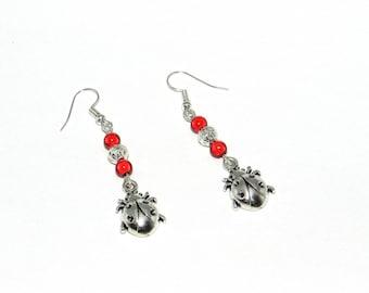 Earrings, ladybug, magic beads, red, filigree