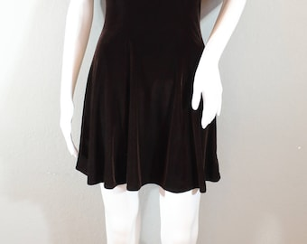 90s Velvet Skater dress, dark brown, size small