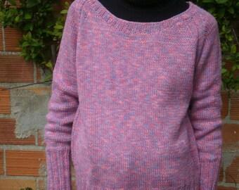 Pink/Purple heathered wool, round neck sweater