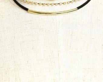 Multi Stones Denim Choker Necklaces