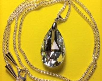 Large Crystal Teardrop Pendant Necklace