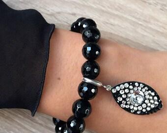 Bracelet with Black Onyx and Swarovski crystals