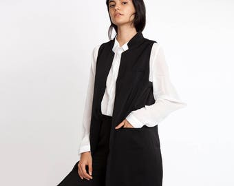 Black Long Open Waistcoat