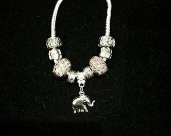 European bracelet with European beads, elephant