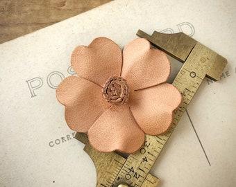 Beige Leather Flower | Leather Applique | Floral Applique | Tan Leather Flower | Flower Applique | Small Leather Flower | (5pcs) A31