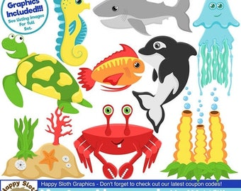 Half Price Sale Under The Sea clipart set, personal and commercial use vector Sealife digital clip art set.