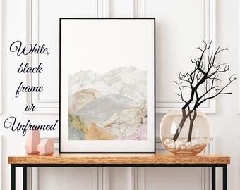 Large Modern Framed Art Mountain Landscape Room Decor, Marble Print, Landscape Art Poster Nature Lovers Gift Framed Art For Living Room