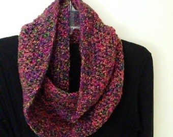 Crocheted Infinity scarf - multicolored