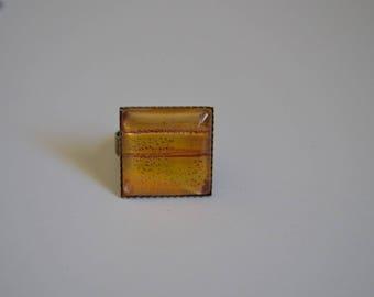 Unique 20 mm bronze square ring