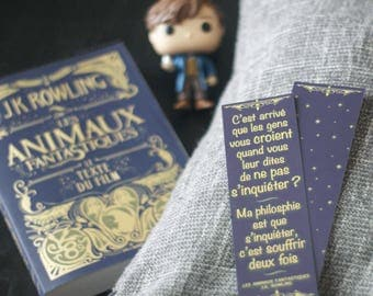 "Bookmark quote Fantastic Beasts - J.K. Rowling - ""My philosophy is that worrying means you suffer twice."""