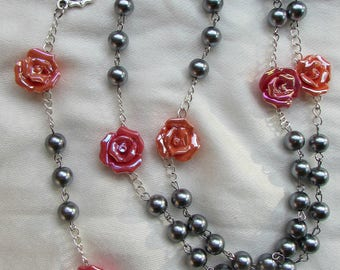 Gray and Coral Rosary