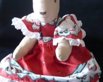 Cotton Rabbit with Dress and Pantaloons.