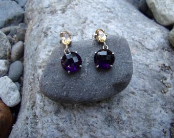 Earrings in silver and natural semiprecious stones (amethyst and citrine)
