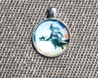 Witch on Broom with Cat Pendant Necklace