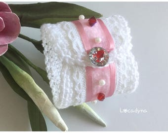 Cuff romantic white pink red holiday Christmas new year Ribbon lace button closure beads Pearl red gift women teenager.