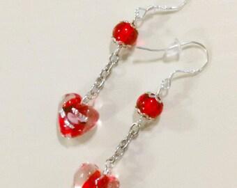 Dangling earrings in silver beads heart Red