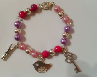 Bracelet child girl - bracelet beads and charms - jewelry - daughter jewelry - colorful jewelry