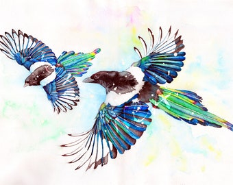 Two for Joy - Magpies - Original watercolour by Nicholas Clack