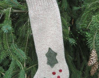 100% Felted wool Christmas stocking upcycled sweater green/red/tan holly