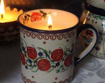 Handmade Essential Oil and Soy Candle in Polish Pottery Mug