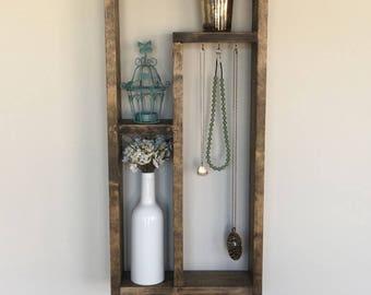 Rustic Solid Wood Hanging Shelf