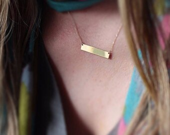 14K Personalized Bar Necklace, Hand-made Gold Bar Necklace Available in 14k Gold, White Gold or Rose Gold