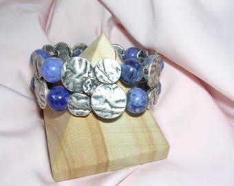 Bracelet multi strands of Sodalite stones