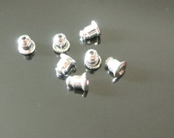 Set of 40 Hitchhikers anti-lost or pushers, 6 x 5 mm, studs earrings, silver nickel and lead free metal