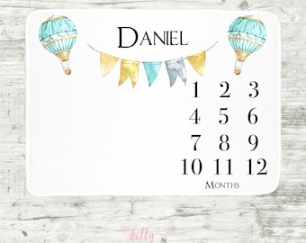 Hot Air Ballon Baby Milestone Blanket, Baby Boy Blanket, Personalized Baby Blankie, Month Baby Blanket, Baby Boy Blankie, Baby Blanket