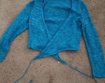 hand knit bolero womens long sleeved criss cross blue sweater