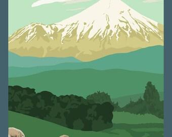 Mt Taranaki New Zealand - Vintage Travel Poster